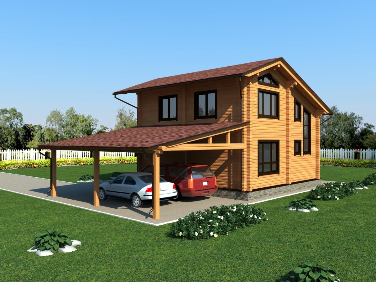 Двухэтажные дома из клееного бруса купить фото