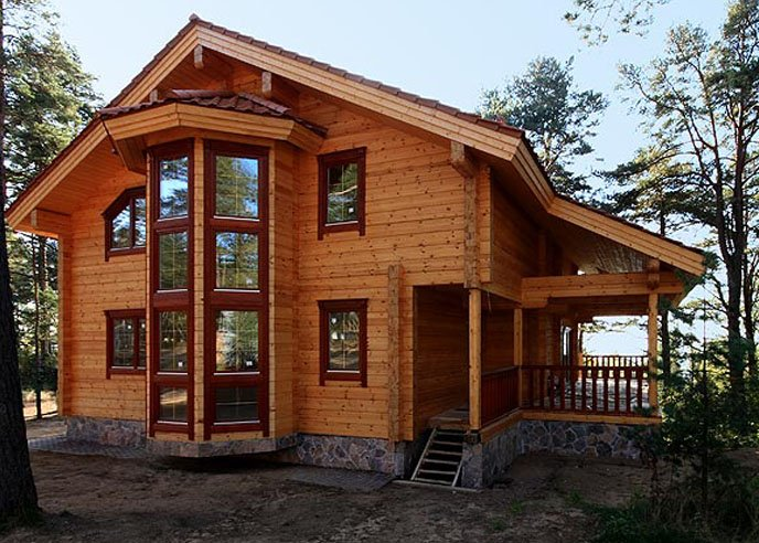 Двухэтажные дома из клееного бруса недорого фото
